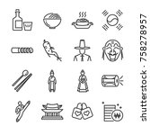 korea icon set. included the... | Shutterstock .eps vector #758278957