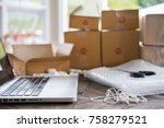 laptop computer at workplace of ... | Shutterstock . vector #758279521