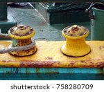 two old mooring posts with a... | Shutterstock . vector #758280709