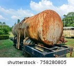 old railroad car with a tank... | Shutterstock . vector #758280805
