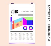 set of wall calendar 2018... | Shutterstock .eps vector #758281201