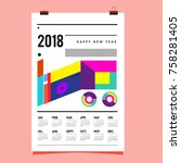 set of wall calendar 2018... | Shutterstock .eps vector #758281405