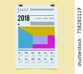 set of wall calendar 2018... | Shutterstock .eps vector #758282119