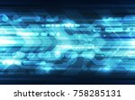 abstract futuristic digital... | Shutterstock .eps vector #758285131