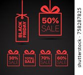 black friday vector label.... | Shutterstock .eps vector #758287825