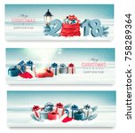 three holiday christmas banners ... | Shutterstock .eps vector #758289364