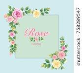 border of flowers in vintage... | Shutterstock .eps vector #758289547