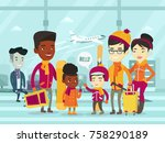 diverse group of multiethnic... | Shutterstock .eps vector #758290189