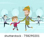 young caucasian father teaching ... | Shutterstock .eps vector #758290201
