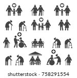 retired people family. senior... | Shutterstock .eps vector #758291554