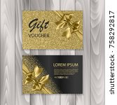 set of shiny gift voucher with... | Shutterstock .eps vector #758292817