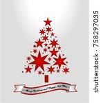 star shape christmas tree.... | Shutterstock .eps vector #758297035