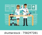 doctor and science technician... | Shutterstock .eps vector #758297281