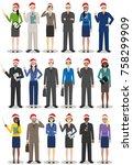 christmas business team.... | Shutterstock .eps vector #758299909