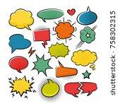 comic speech bubbles pop art... | Shutterstock .eps vector #758302315