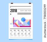 set of wall calendar 2018... | Shutterstock .eps vector #758303299