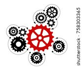 teamwork graphic design. gears... | Shutterstock .eps vector #758303365