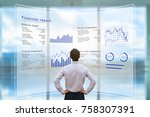 businessman analyzing financial ... | Shutterstock . vector #758307391
