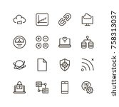 databse icon set. collection of ... | Shutterstock .eps vector #758313037
