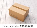 cardboard box on porch floor in ... | Shutterstock . vector #758313451