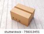 cardboard box on porch floor in ... | Shutterstock . vector #758313451