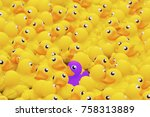 unique purple toy duck among... | Shutterstock . vector #758313889