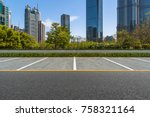 empty car park with downtown... | Shutterstock . vector #758321164