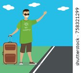 caucasian man with  suitcase...   Shutterstock .eps vector #758321299