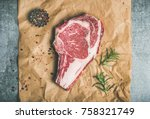 flat lay of raw uncooked prime... | Shutterstock . vector #758321749