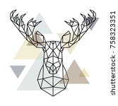 moose head  geometric lines... | Shutterstock .eps vector #758323351