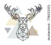 moose head  geometric lines... | Shutterstock .eps vector #758323351