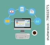 internet blog flat vector... | Shutterstock .eps vector #758323771