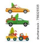 santa claus  big reindeer ...   Shutterstock .eps vector #758325535