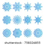 snowflakes icons collection of...