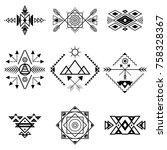aztec style ornament black thin ...