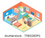 apartment family rooms interior ... | Shutterstock .eps vector #758328391