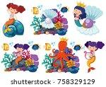 mermaids and sea animals...   Shutterstock .eps vector #758329129