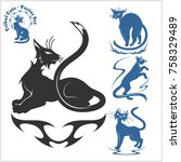 tribal cats for tattoo   vector ... | Shutterstock .eps vector #758329489