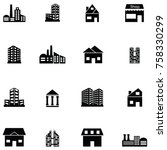 building icon set | Shutterstock .eps vector #758330299