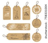 christmas gift tags with hand... | Shutterstock .eps vector #758331004