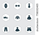 clothes icons set with necktie  ... | Shutterstock .eps vector #758332405