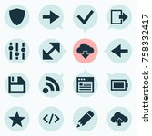 interface icons set with ahead  ...