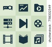 multimedia icons set with film  ... | Shutterstock .eps vector #758332549