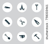 repair icons set with clamp ... | Shutterstock .eps vector #758333461