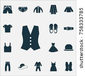 clothes icons set with footwear ... | Shutterstock .eps vector #758333785