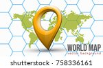 vector flat world map with... | Shutterstock .eps vector #758336161