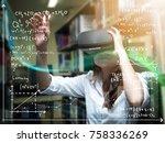asian woman wearing virtual...   Shutterstock . vector #758336269
