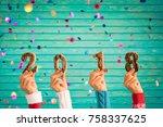 happy new year 2018  confetti... | Shutterstock . vector #758337625