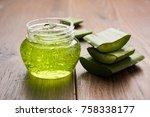 aloe vera juice  gel ... | Shutterstock . vector #758338177