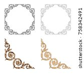 classical baroque vector set of ... | Shutterstock .eps vector #758342491